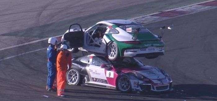 Гоночний болід Porsche заїхав на дах суперника (2 фото + відео)