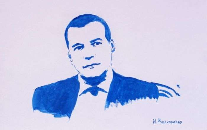 Пітерська художниця Ірина Романовська намалювала грудьми портрети Путіна і Медведєва (6 фото)