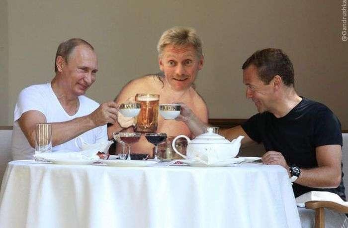 Володимир Путін і Дмитро Медведєв провели спільне тренування (21 фото + відео)