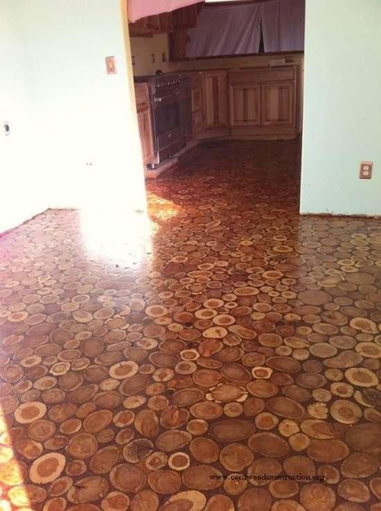 Підлогу з деревяних дисків (10 фото)