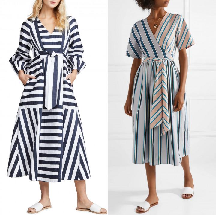 Небанальные платья и юбки миди в полоску на лето гардероб,мода и красота,модные сеты,модные тенденции,одежда и аксессуары